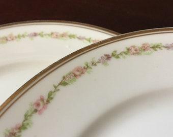 Haviland Limoges Luncheon Plates Set of 3 France Pink Floral China