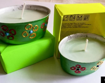 Candles in hand painted containers