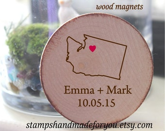 Personalized Magnets - states Rustic Wedding Favor Wood Magnets - save the date or rustic wedding favor-your state and city theme