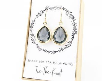 Charcoal Gray Gold Teardrop Earrings, Charcoal Gray Teardrop Earrings, Charcoal Gray Bridesmaid Earrings, Gray and Gold Earrings