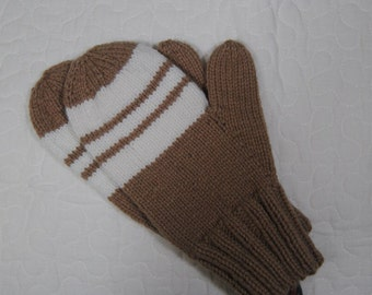 Custom white triple striped mittens - toddler to adult sizes