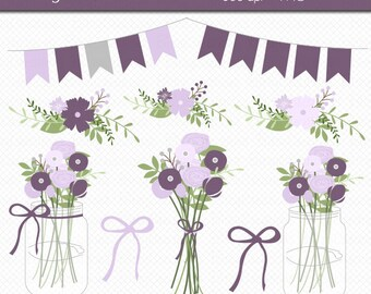 Mason Jar Flowers in Purple Digital Art Set Clipart Commercial Use Clip Art INSTANT DOWNLOAD Wedding Flowers Floral Clipart