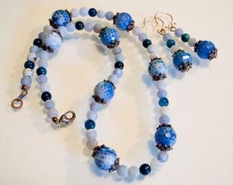 Blue Fire And Smokey Baby Blue Agate with Blue Jasper Beads Neckace and Earrings Handmade