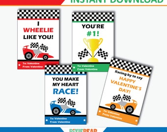 Race Car Valentine Cards - Car Valentine Card- Valentines Cards For School - Valentines Day Cards for Kids - Printable (Instant Download)