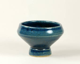 Bright blue ceramic footed bowl