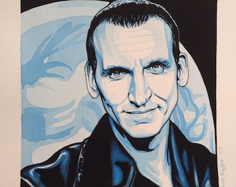 ORIGINAL watercolour/gouache painting of CHRISTOPHER ECCLESTON (Doctor Who) by Chris Naylor