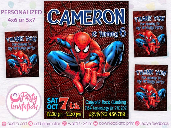 Spiderman invitation digital Free thank you tags Spiderman