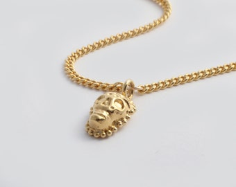 Gold Skull Necklace, Sugar Skull Necklace, Gold Skull Pendant, Gold Skull Charm, Dia De Los Muertos, Gold Gothic Necklace