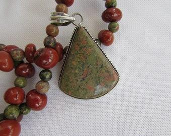 Unakite and Red Jasper Pendant Necklace