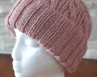 Rose Color Cable Hand-Knit Hat. Super soft - Ready to be Shipped