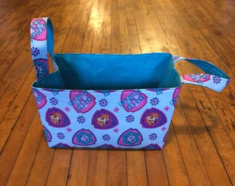 Small Toy Bin Paw Patrol patterned with Handles