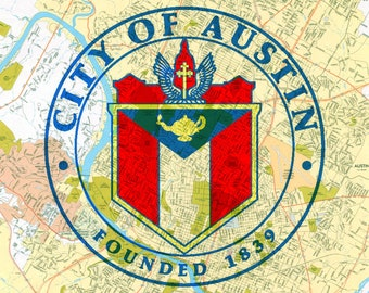 Austin Texas Seal - Austin Map Background - 8 x 10 Print
