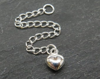 Sterling Silver Extension Chain with Heart ~ 2.5""