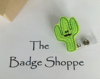 Cactus with Mustache Made of Felt on a Retractable ID Badge Holder/Nurses Week/Nursing Gifts/Cactus Badge/Funny Nursing Badge Reels/RN Badge