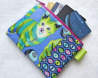 Disco Kitty Tula Pink Fabric Business Card Case Coin Purse Zipper Credit Card Case Card Holder Wallet Tabby Road Bluebird Striped Cat