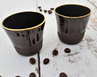 Ceramic Cups, Black Espresso Cup, Elegant Cups, Ceramic Tumblers, Small Coffee Mugs,  Black Pottery Cup, Stoneware Cups