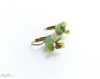 Elegant, boho chic, green earrings