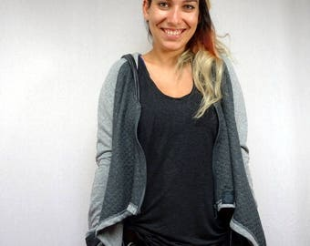 Original two-tone grey quilted hooded woman jacket