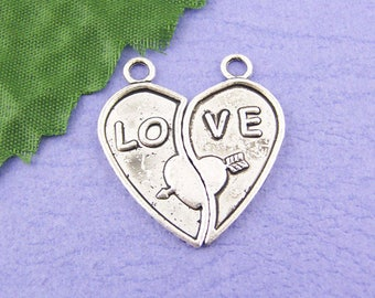 "Large pendant charm ""LO VE"" heart two holes 31x14mm"