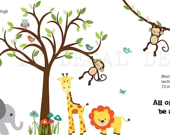 Jungle Decals, Jungle Wall Decals, Nursery Wall Decal, Giraffe, Elephant, Lion, Zebra, Four Monkeys, XXXL Standard Jungle Design