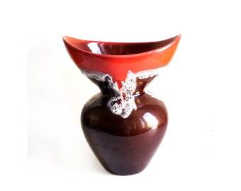 Grand Vase Fat Lava Vallauris Marron et Orange