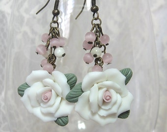 White & Pink Rose Earrings - Bridal Earrings - Polymer Clay, Antique Brass