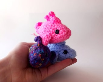 Fish Plush, Mini Amigurumi Plush in Pink, Blue and Purple