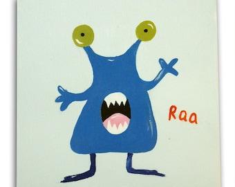 Monster Painting  / Children's Art / Kids / Nursery Decor / Boys Bedroom