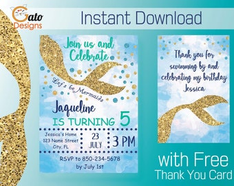 Mermaid Birthday Invitation and Thank you Card- Printable Digital Instant Download-