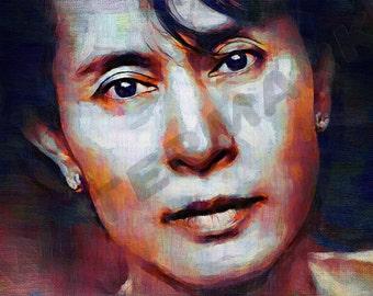 Aung San Suu Art Print -  Myanmar Oil Painting Poster  LFF0010