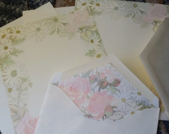 Vintage Stationery Collection ~ Hallmark Pink Roses and White Daisies Stationery Collection