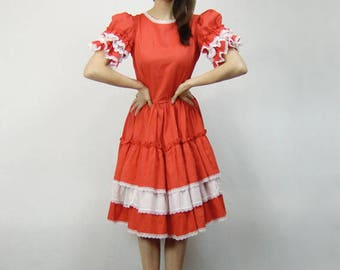 Square Dance Dress Womens Prairie Country Vintage Red Dress Full Circle Skirt - Large L