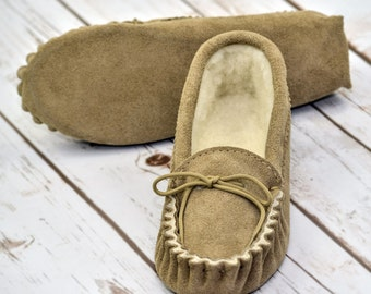 British Suede and Lambswool Handmade Moccasin Slippers