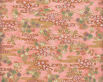 """Stylized Clouds & Blossoms - Peach/Gold Metallic Asian Japanese Quilt Gate """"Chiyogami"""" Fabric - By the Half Yard"""