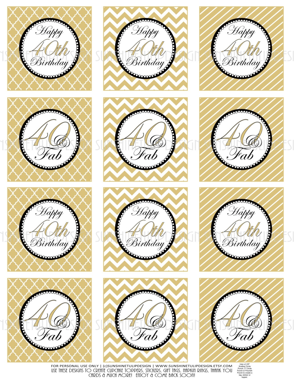 40th Birthday Cupcake Toppers Printable Gold and Black 40th