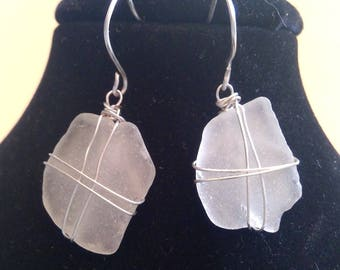 Genuine White Sea Glass French Hook Earrings in Argentium SIlver