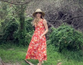 Red Aloha Print Dress
