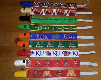 Nuk clips/pacifier clips/binki clip/soothie/infant pacifier clips College Football Gophers Badgers Oregon Ducks
