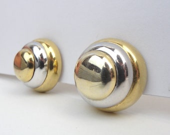 VINTAGE Lanvin Paris Signed Clip On Earrings Metal Costume Fashion Jewelry 60s 70s 80s