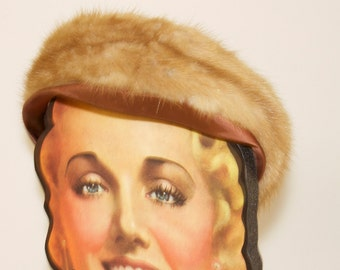 Vintage  Women's Hat - 1950s Mink Fur Pillbox Hat