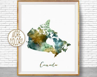 Canada map etsy canada map art canada print watercolor map map painting map artwork office decorations country map artprintzone gumiabroncs Choice Image
