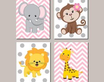 Jungle Nursery Wall Art Safari Animals Elephant Monkey Giraffe Lion Zoo Animals Baby Girl Decor Pink Gray Nursery Set of 4 Prints Or Canvas