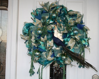 A blue and green beauty for your front door!