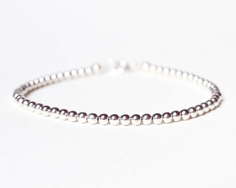 Silver Bead Bracelet, Simple Beaded Bracelet, Layering Bracelet, Minimalist Jewelry UK