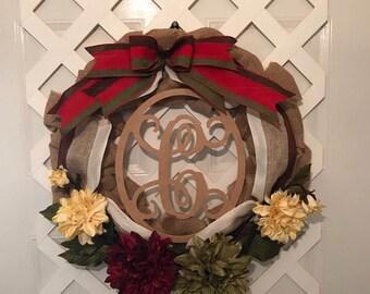 Monogram Farmhouse Wreath - Farmhouse Wreath For Front Door - Farmhouse Decor - Rustic Country Wreath - Summer Wreath- Farmhouse Door Wreath