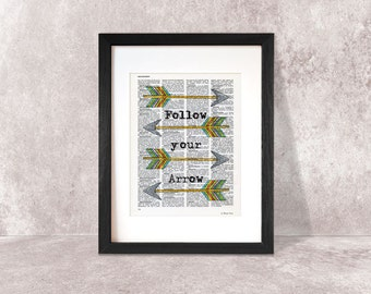 Follow Your Arrow Print-Follow Your Arrow dictionary Print-Motivational Quote-boho print-watercolor print-quote print-by NATURA PICTA-DP007