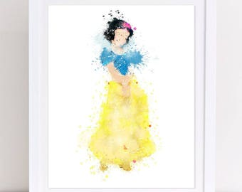 70% Snow White Disney Priness Watercolor Disney princess snow white nursery snow white disney  disney printable decor poster kids decor
