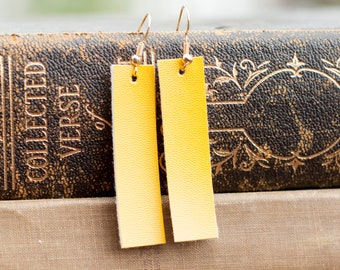 mustard faux leather rectangle earrings