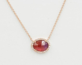 1.23Ct. Pink Sapphire Necklace/Diamond Necklace/Pink Sapphire Diamond Necklace/Diamond Halo Necklace/Solid 14k Rose Gold Necklace
