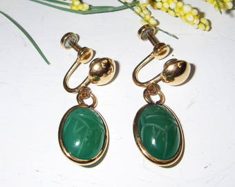 Vintage Scarab Earrings, Amco 1/20 12KT Gold Filled Screw Back Carved Chrysophrase Scarab Drop Dangle Earrings, Egyptian Revival Jewelry